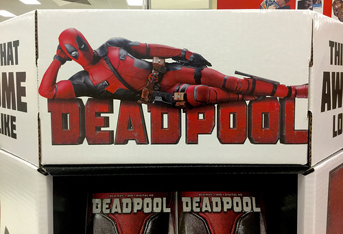 DeadPool, Target DVD Display, 5/2016, pics by Mike Mozart of TheToyChannel and JeepersMedia on YouTube #Deadpool